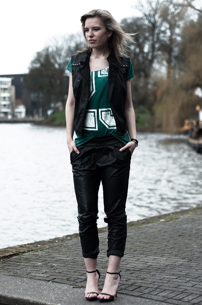 Outfit number tee leather biker vest tappered pants trousers baggy