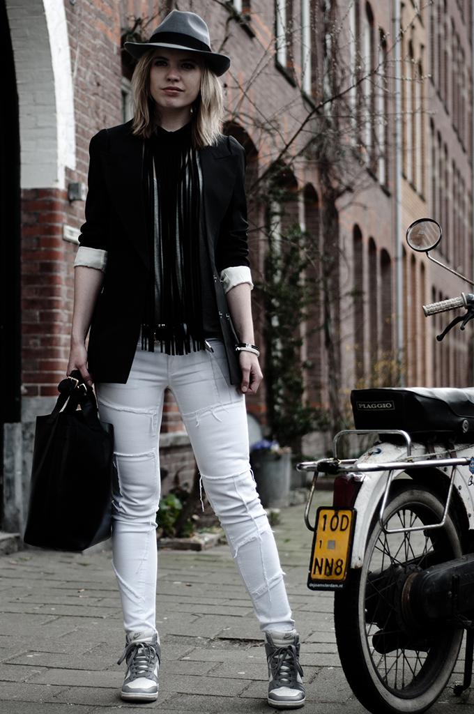 Girl maison martin margiela blazer jacket H&M white patchwork jeans