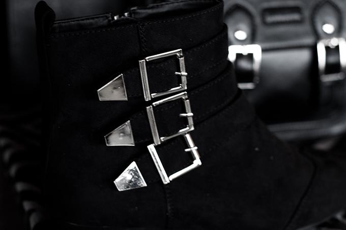 F/W 13 Bristol faux suede silver straps boots