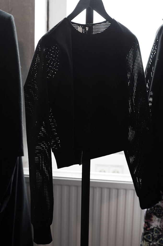F/W 13 a.Knackfuss black mesh designer sweater