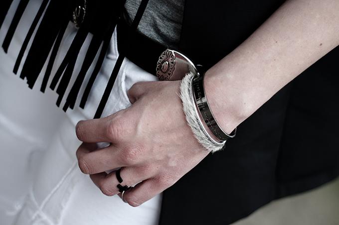 Outfit details bandhu ponyhair bracelets cross ring cowboy western belt leather