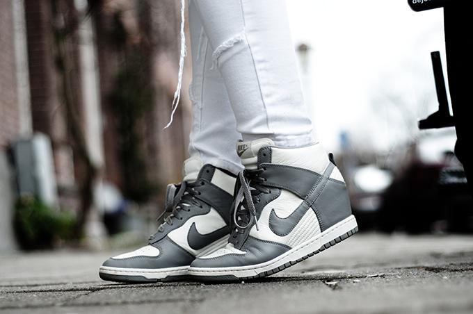 Details Nike Dunk Sky Hi Sneakers Shoes Grey White patchwork jeans denim