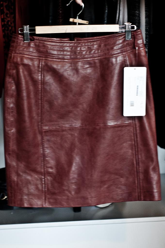 F/W 13 Komma burgundy oxblood red leather skirt