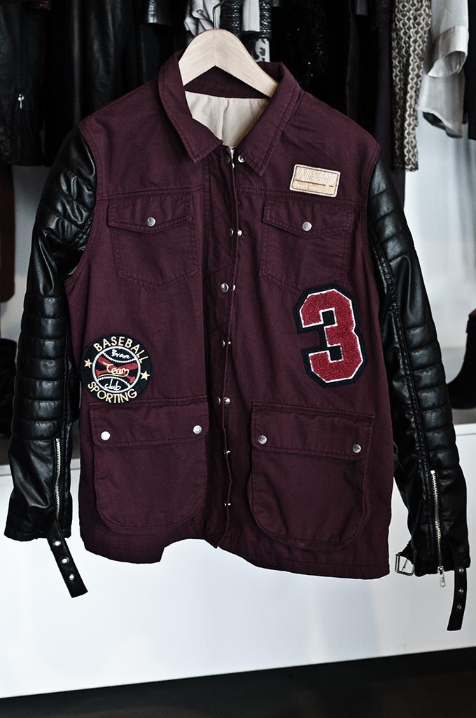 F/W 13 River Island aubergine bomber baseball jacket leather arms