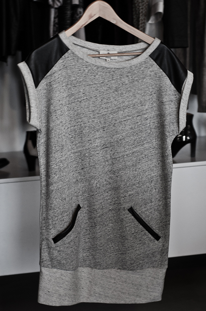 F/W 13 marl grey jersey dress leather shoulder inserts essentiel