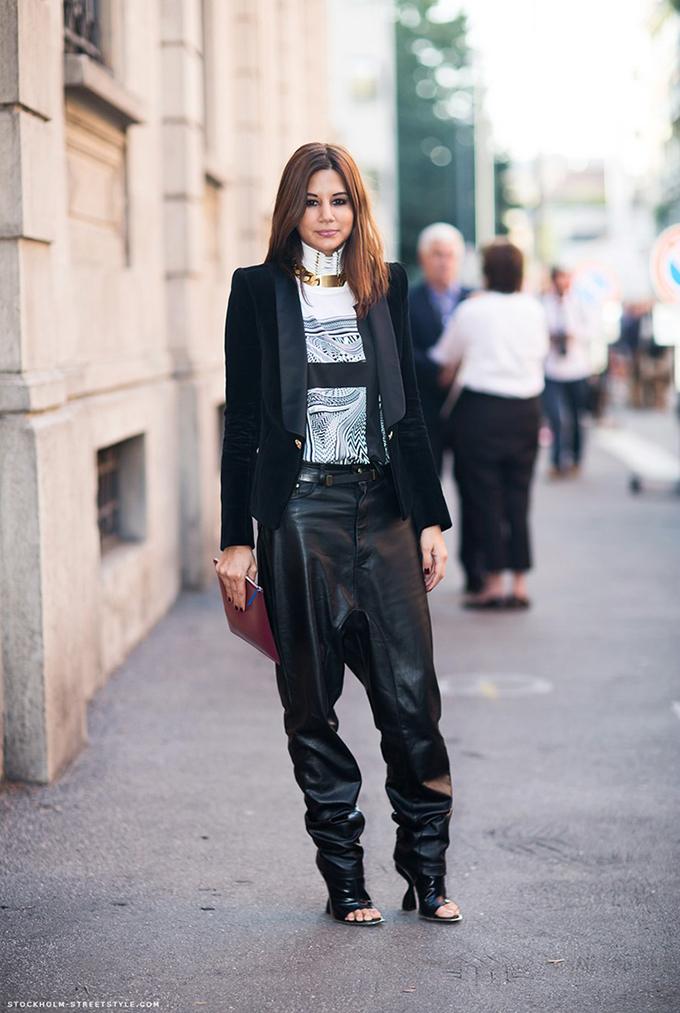 Celine centerra streetstyle fashion week slouchy suit pants wide trousers sleek baggy