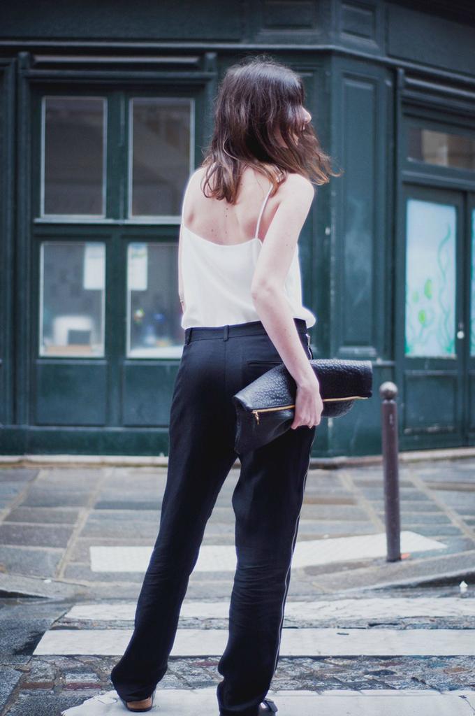 Celine streetstyle basic boho chic slouchy suit pants wide trousers sleek baggy