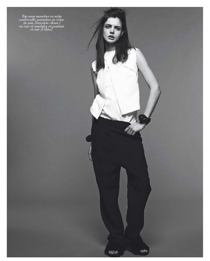 Celine vogue editorial look outfit fashion slouchy suit pants wide trousers sleek baggy