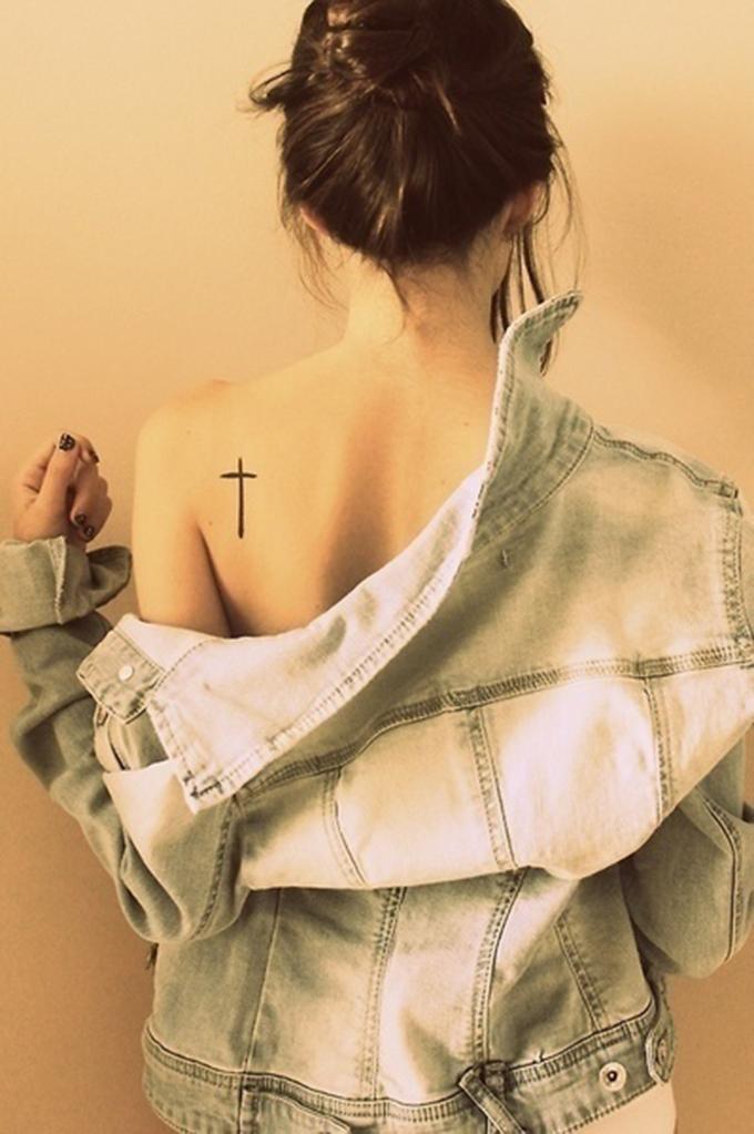 Cross tattoo back shoulder black simple minimalistic inspiration rock chick denim jacket ink