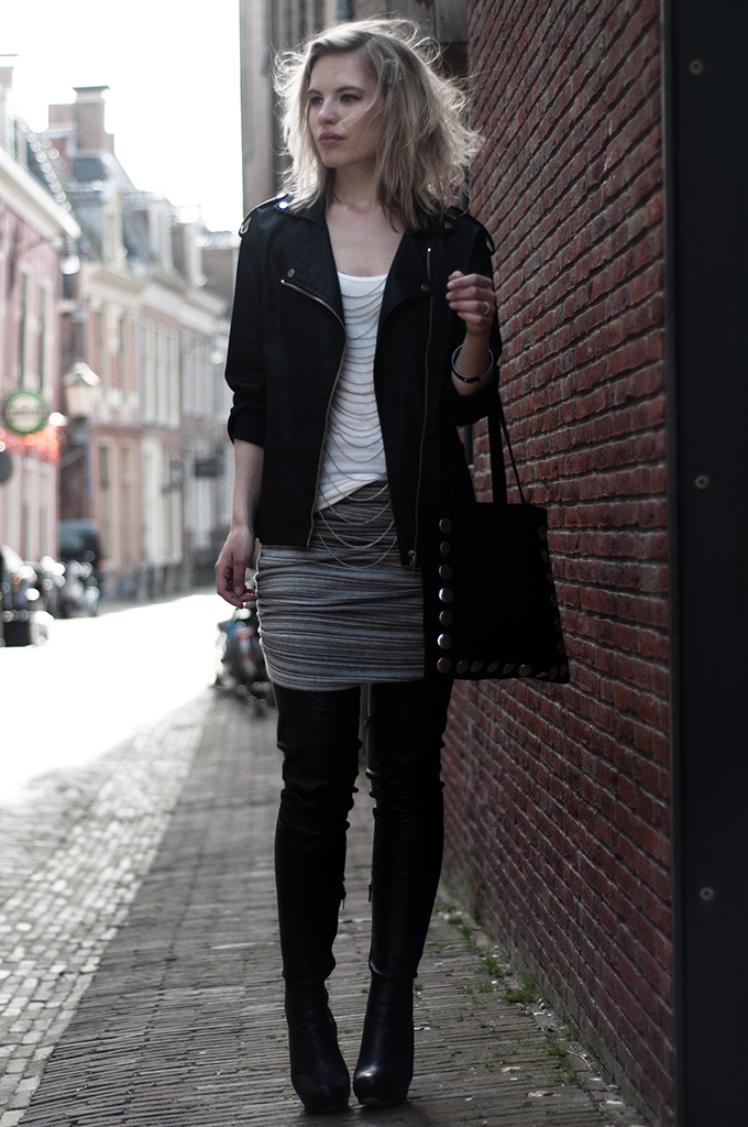 outfit marl grey alexander wang KO draped skirt coated denim biker jacket bodychain outfit fashion blogger