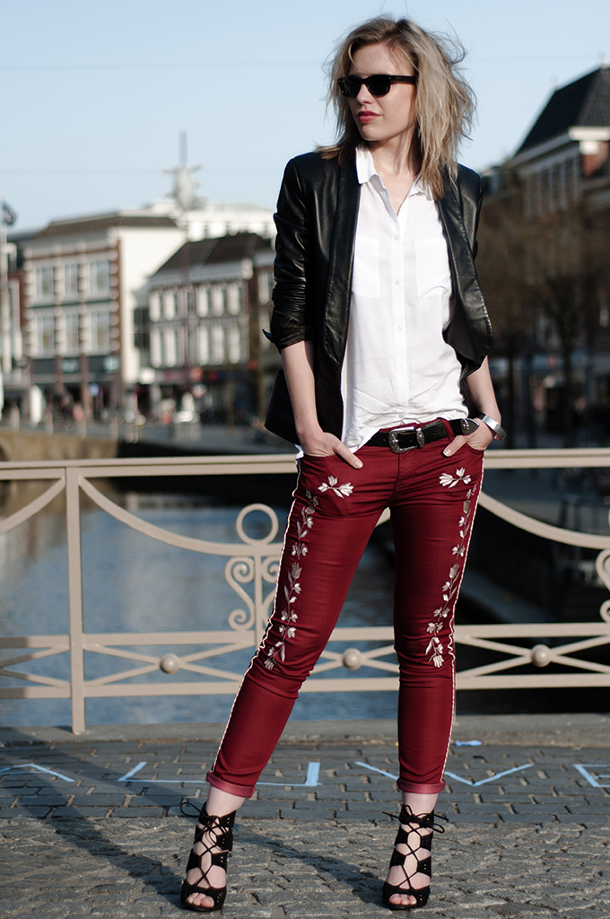 Outfit fashion blogger isabel marant look-a-like KO knock off western cowboy embroidered pants leather