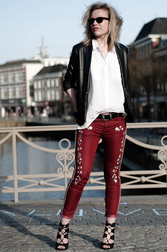 Streetstyle leather suit jacket Isabel Marant NLY trend fringed embroidered western pants red zara lace up sandals
