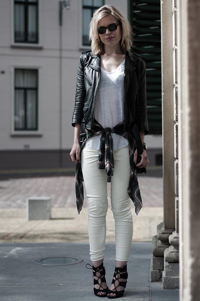 Streetstyle shirt blouse checked tied waist leather biker jacket pants white black altuzzara KO sandals zara