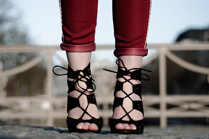 Details shoes Zara lace up beautiful sandals fashion blogger wearing suede isabel marant red