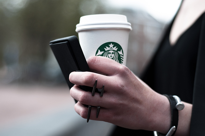 Details starbucks coffee cup business cards streetstyle fashion blogger spike ring nail DIY bracelet leather