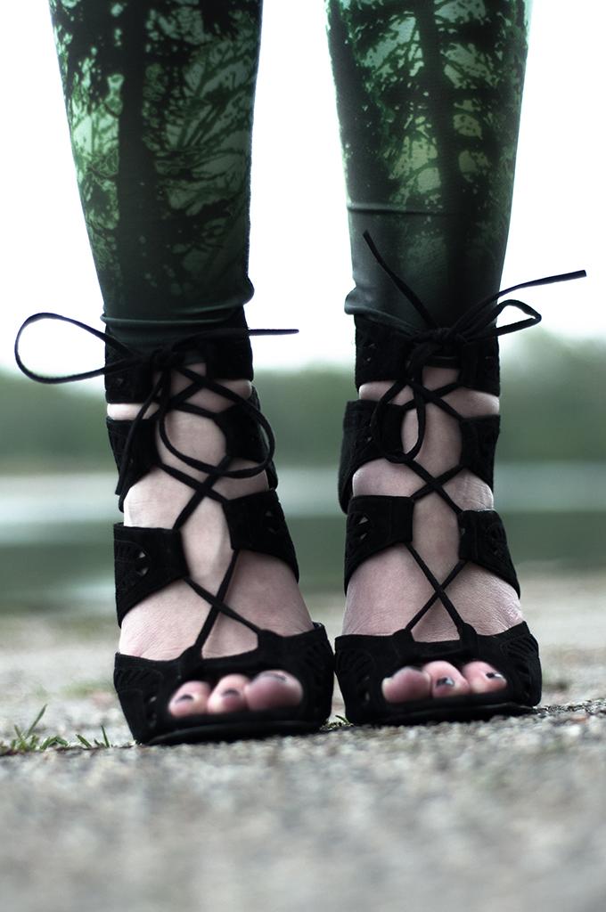 Details aurora sky leggings green trees lace up suede altuzarra KO knock off sandals Zara