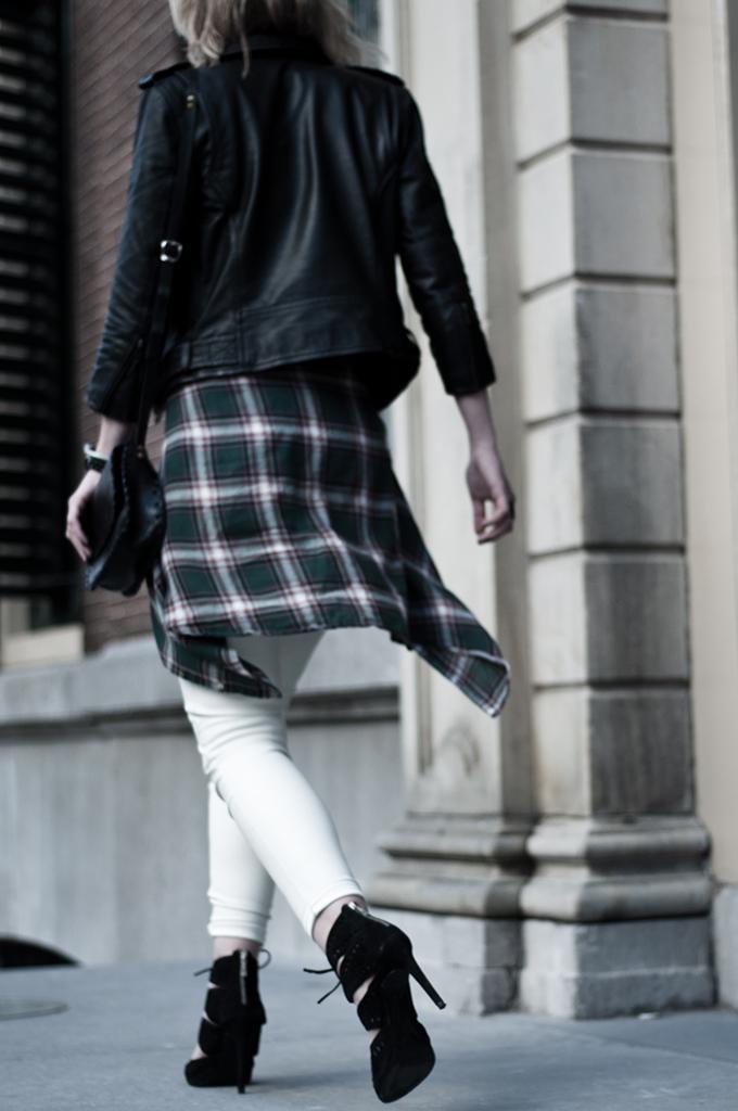 streetstyle fashion blogger week wearing leather biker jacket checks checked lumberjack shirt waist white leather pants