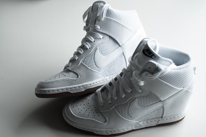 Fashion blogger wearing Nike Dunk Sky Hi high all white mesh wedge sneakers details