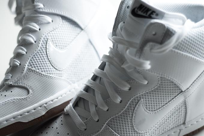 All white Nike Dunk Sky Hi High sneakers sneaker wedge wedges mesh swoosh