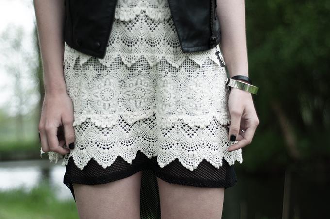 romantic rock chick outfit details wearing crochet dress fishnet mesh leather biker gilet