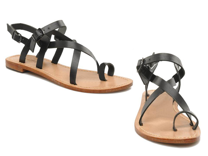 Perfect black leather sandals sarenza yellow mellow Lemporio toe strap strappy minimalistic