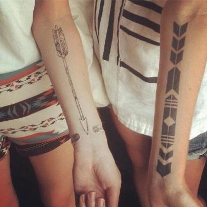 Matching arrows bohemian boho tattoos couple tattoo boyfriend girlfriend boy girl arrow inspiration ink