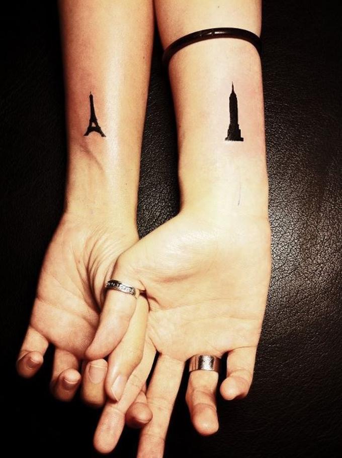 Couple tattoo boyfriend girlfriend boy girl tattoos tattoo ink big ben eiffel tower london paris inspiration