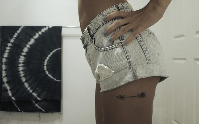 tattoo inspiration ink body art arrow aztec placement upperleg small mini feminine boho shorts