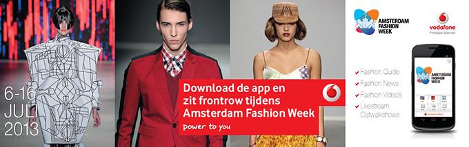AFW Vodafone app Amsterdam Fashion Week schedule location livestream shows front row