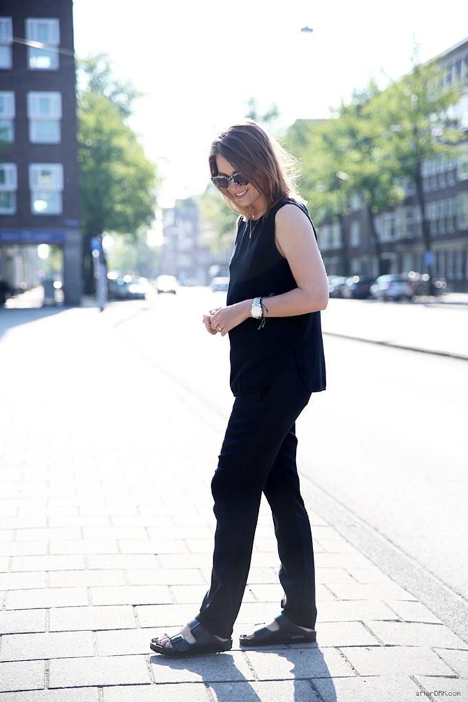 AfterDrk birkenstocksbirkenstock arizona wearing streetstyle furkenstocks celine slouchy pants fashion blogger