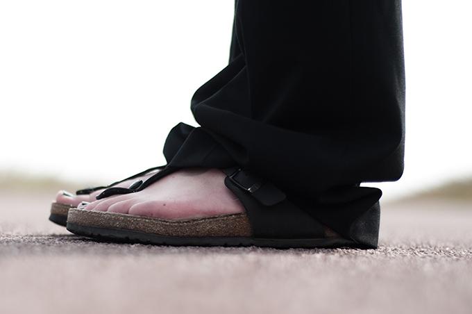 Shoes outfit details birkenstock birkenstocks sandals fashion blogger slouchy wide suit pants celine