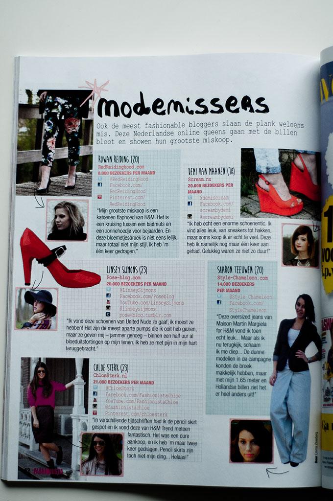 Blogtoday blogger Rowan Reiding featured in fashionista magazine Dutch blogazine miskopen article