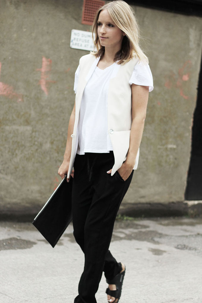 Inspiration Charlotte The Fashionguitar all white outfit wearing birkenstocks slouchy suit pants celine