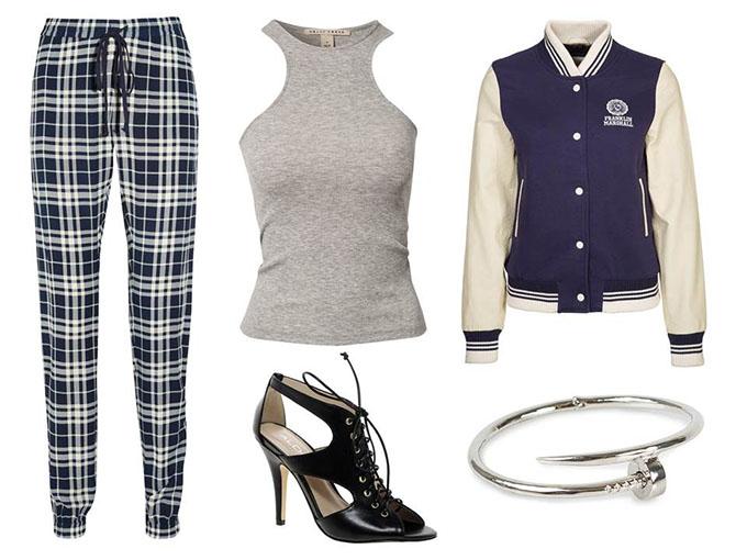 Outfit check pants joseph tartan  plaid trousers franklin marshall varsity college jacket aldo lace up shoes racerback ribtank nail bracelet