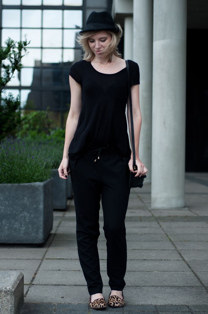 Streetstyle little black bag all black everything outfit wearing look fashion blogger UGG australia ponyhair leopard loafers