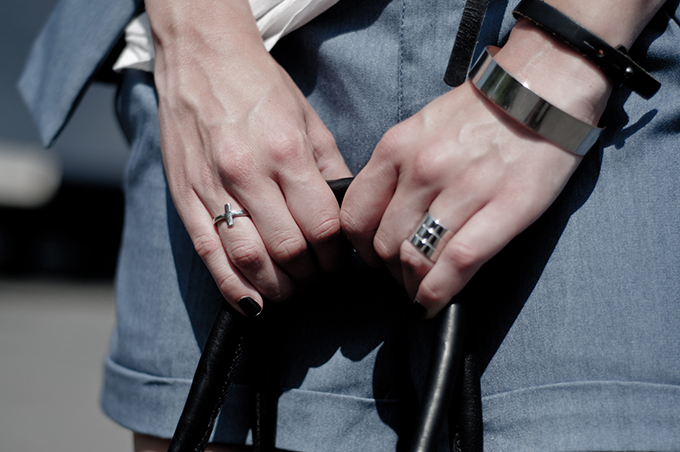 outfit details streetstyle model statement jewellery rock silver cross ring cuff black nailpolish denim suit acne