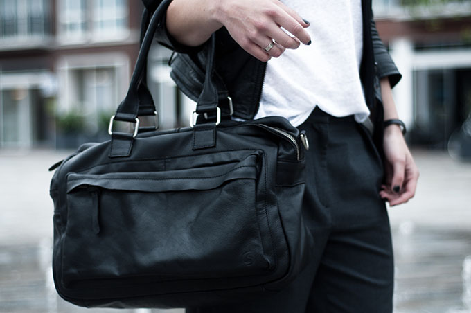 Outfit details black leather oversized bag shoulder  personal style fashion blog slouchy pinstripe pants