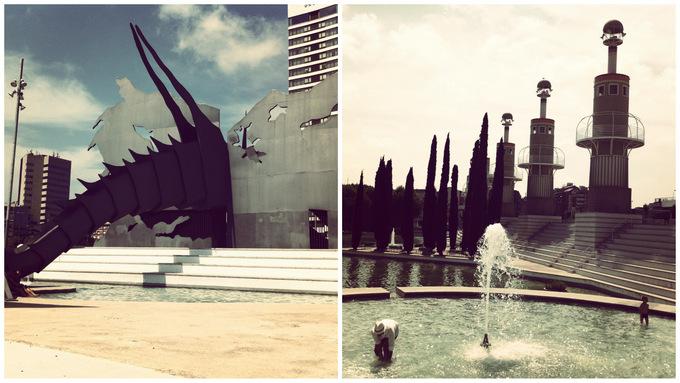 Parc de l'espanya industrial barcelona guide concrete park fountains must-visit must-see -must-do sight view dragon