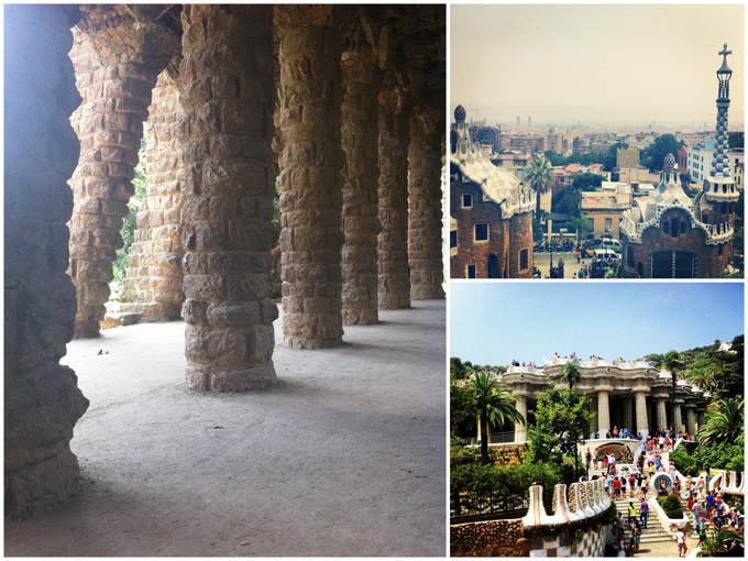 Park Guell collage photos holiday vacation 2013 blog tourist barcelona guide attraction gaudi view landscape