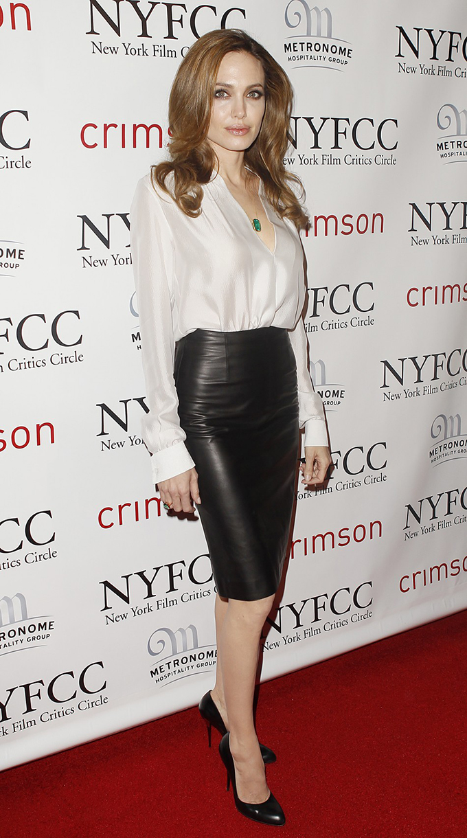 Angelina Jolie red carpet outfit rock chick classy wearing black leather pencil skirt NYFCC Metronome