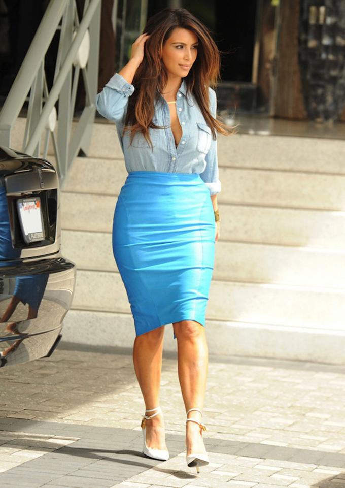Kim Kardashian outfit baby bump pre pregnant wearing denim all blue tight leather pencil skirt sexy