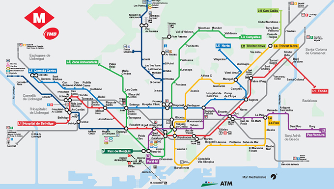 Metroplan Metronet Metromap Barcelona TMB where to go how to T10 traject route colors lines 2013 tips tricks metro barcelona guide