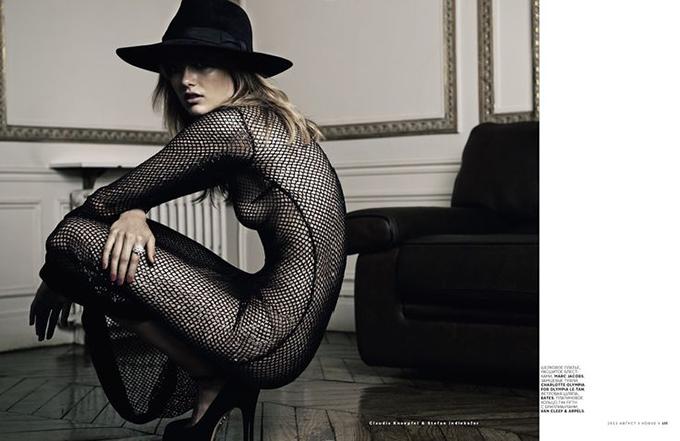 random fashion inspiration editorial vogue fishnet mesh maxi dress saint laurent black floppy hat model