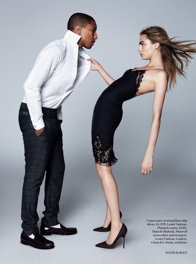 Cara Delevigne Pharrel Williams editorial look Vogue look magazine sexy louis vuitton slip dress