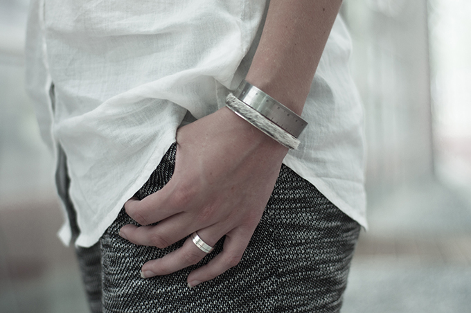 Outfit details swaychic my persuasion knit pants oversized white shirt silver bandhu jewellery measure bracelet