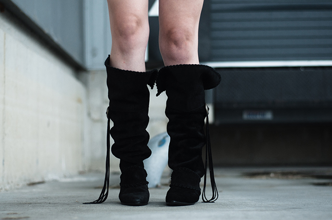 Slouchy boots H&M New Icons trend boho hippie Vanessa Hudgens style suede campaign details streetstyle