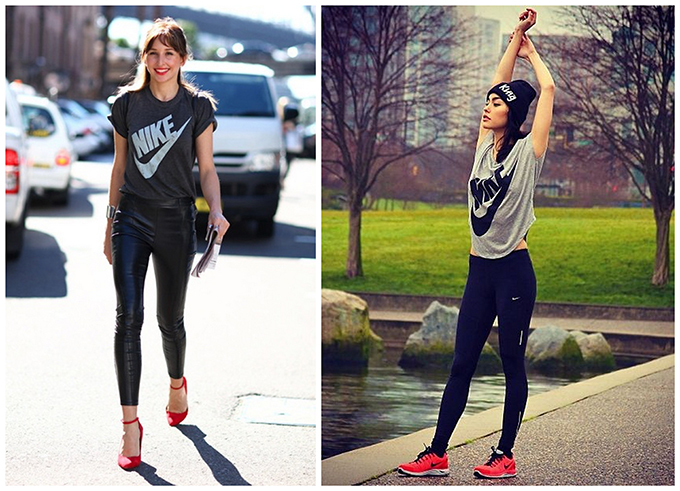 Fashion blogger wearing Nike tee streetstyle leather pants heels daily wear sportsluxe sporty chic runing tights