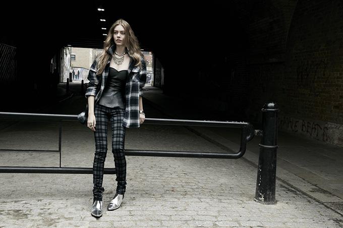 ZARA A/W '13 CAMPAIGN TRF lookbook grungy checks checkered skinny trousers pants lumberjack coat leather peplum silver