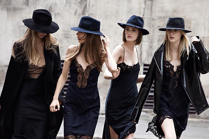 ZARA A/W '13 CAMPAIGN women lingerie dresses checkered checked fedora hat wide rim lookbook