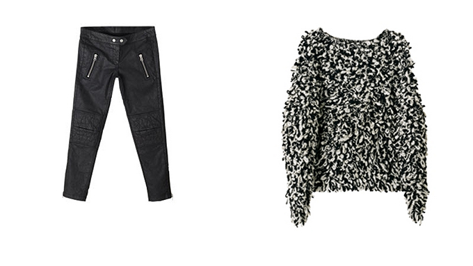 Isabel Marant x H&M picks fluffy hairy oversized sweater black skinny coated pants